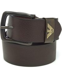 Armani Jeans - Brown Grained Leather Belt - Lyst