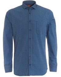 BOSS - Cattitude Slim Fit Geometric Print Navy Blue Shirt - Lyst