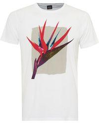 BOSS by Hugo Boss - Timen 2 T-shirt, Tropical Flower Graphic White Tee - Lyst