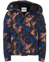 KENZO Floral Printed Padded Blousson Jacket - Blue