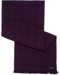 Armani - Waffle Knit Wool Burgundy Scarf - Lyst