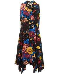 Diane von Furstenberg - Floral Sleeveless Black Bias Dress - Lyst