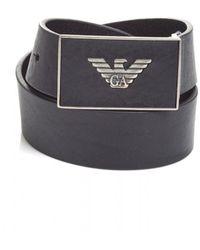 Emporio Armani - Eagle Embossed Metal Logo Leather Black Belt - Lyst