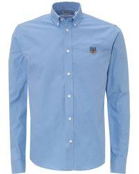 KENZO Tiger Head Button Down Sky Blue Shirt