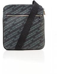 Emporio Armani Black All Over Logos Crossbody Stash Bag