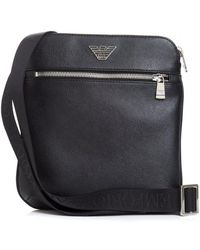 Lyst - Armani Jeans Embossed Grain Leather Logo Stash Bag in Black ... ba82a7d15d2