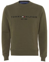 Tommy Hilfiger - Est. 1985 Logo Sweatshirt, Dusty Olive Sweat - Lyst