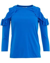 I Blues - Austral Cold Shoulder Frill Turquoise Blue Top - Lyst