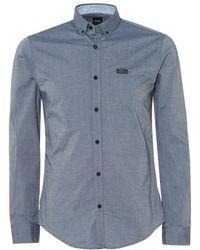 BOSS Biado_r Cotton Stretch Navy Blue Shirt