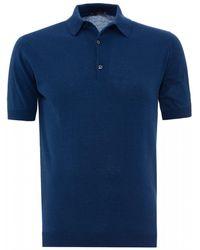 John Smedley Adrian Polo Shirt, Sea Island Cotton Indigo Blue Polo