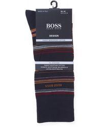 BOSS - Rs Multistripe Mc Navy Blue Sock - Lyst