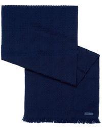 Armani - Waffle Knit Wool Navy Blue Scarf - Lyst