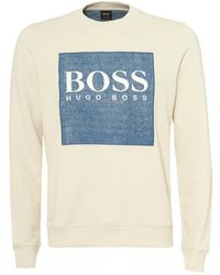 d973fd95f567 BOSS French-terry Sweatshirt With Denim-look Logo Patch in Gray for ...