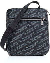 Emporio Armani - All Over Logo Black Crossbody Stash Bag - Lyst