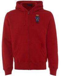 Polo Ralph Lauren Bear Polo Zip Hoodie, Ralph Red Hooded Sweatshirt