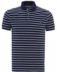 Ralph Lauren Navy Striped Slim Fit Polo Shirt - Blue