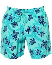 Vilebrequin Moorea Swimshorts, Blue Starfish Print Swimming Trunks