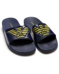 Emporio Armani Eagle Logo Sliders, Navy Blue Flip Flops