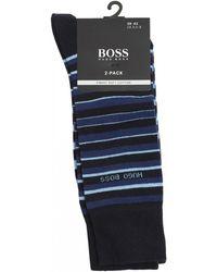 BOSS - Striped & Plain Blue Stretch Cotton Socks - Lyst