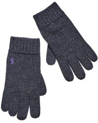 Ralph Lauren - Charcoal Grey Ribbed Wool Gloves - Lyst