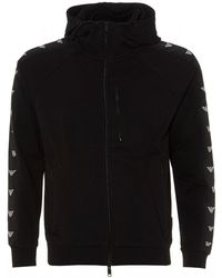 Emporio Armani Eagle Taped Zip Hoodie, Black Regular Fit Hooded Sweat