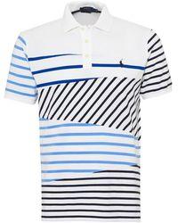 Ralph Lauren Striped Panel Polo Shirt, White Polo