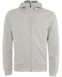 BOSS Saggy Hooded Sweatshirt, Striped Logo Hoodie - Gray