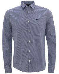 Armani Poplin Cotton Striped Shirt - Blue