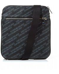 40df34af08f Armani Jeans All Over Logo Mini Flight Bag In Black in Black for Men ...