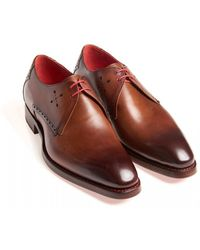 Jeffery West Mahogany Brown Mancha Floyd Leather Derby Shoes