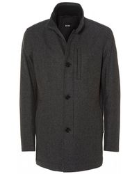 BOSS Camron Wool Blend Charcoal Grey Coat - Gray