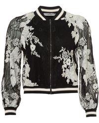 D. EXTERIOR - Bomber Jacket, Lace Floral Reversible Black Ecru Jacket - Lyst