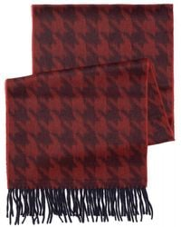 Duchamp - Red Dogstooth Fringe Scarf - Lyst