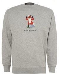 Maison Kitsuné - Pixel Fox Sweatshirt, Grey Regular Fit Sweat - Lyst