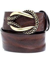 Elliot Rhodes - Antique Gold Rope Knot Brown Leather Belt - Lyst