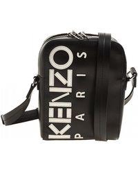 KENZO Logo Print Shoulder Bag - Black