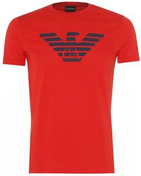 Emporio Armani Eagle Logo T Shirt - Red