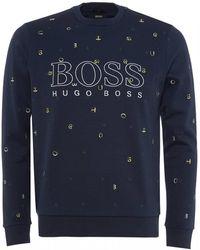 BOSS Salbo Iconic Sweatshirt, Jumbled Letters Sweat - Blue