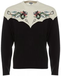 KENZO Dragon Colour Block Jumper, White Black Crew Neck Jumper