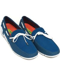 Swims - Breeze Lace Loafer, Lace Trim Poseidon Blue Shoes - Lyst
