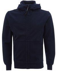 C P Company Diagonal Raised Fleece Goggle Zip-up Hoodie, Navy Sweatshirt - Blue