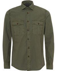 BOSS Rebus Chest Pocket Regular Fit Khaki Green Shirt