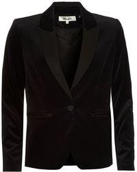 Diane von Furstenberg - Velvet Blazer, Tailored Fit Black Jacket - Lyst