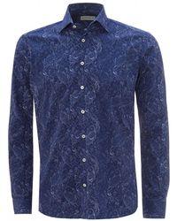 Etro Blue Etched Paisley Shirt