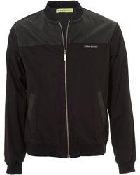 Versace Jeans - Back Logo Bomber, Black Faux Leather Jacket - Lyst