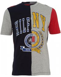 Tommy Hilfiger Colour Block Graphic T-shirt, Cloud Htr Grey Tee - Gray