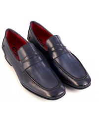 Jeffery West Shadow Leather Shoes, Jeans Blue Penny Loafers