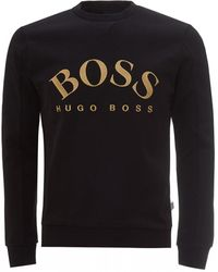 BOSS Salbo Curved Logo Sweatshirt, Black Sweater