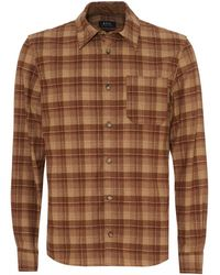 A.P.C. Attic Overshirt, Checked Beige Brown Shirt - Natural