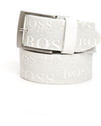 BOSS - Torialo Belt, All Over Emed Logo White Belt - Lyst